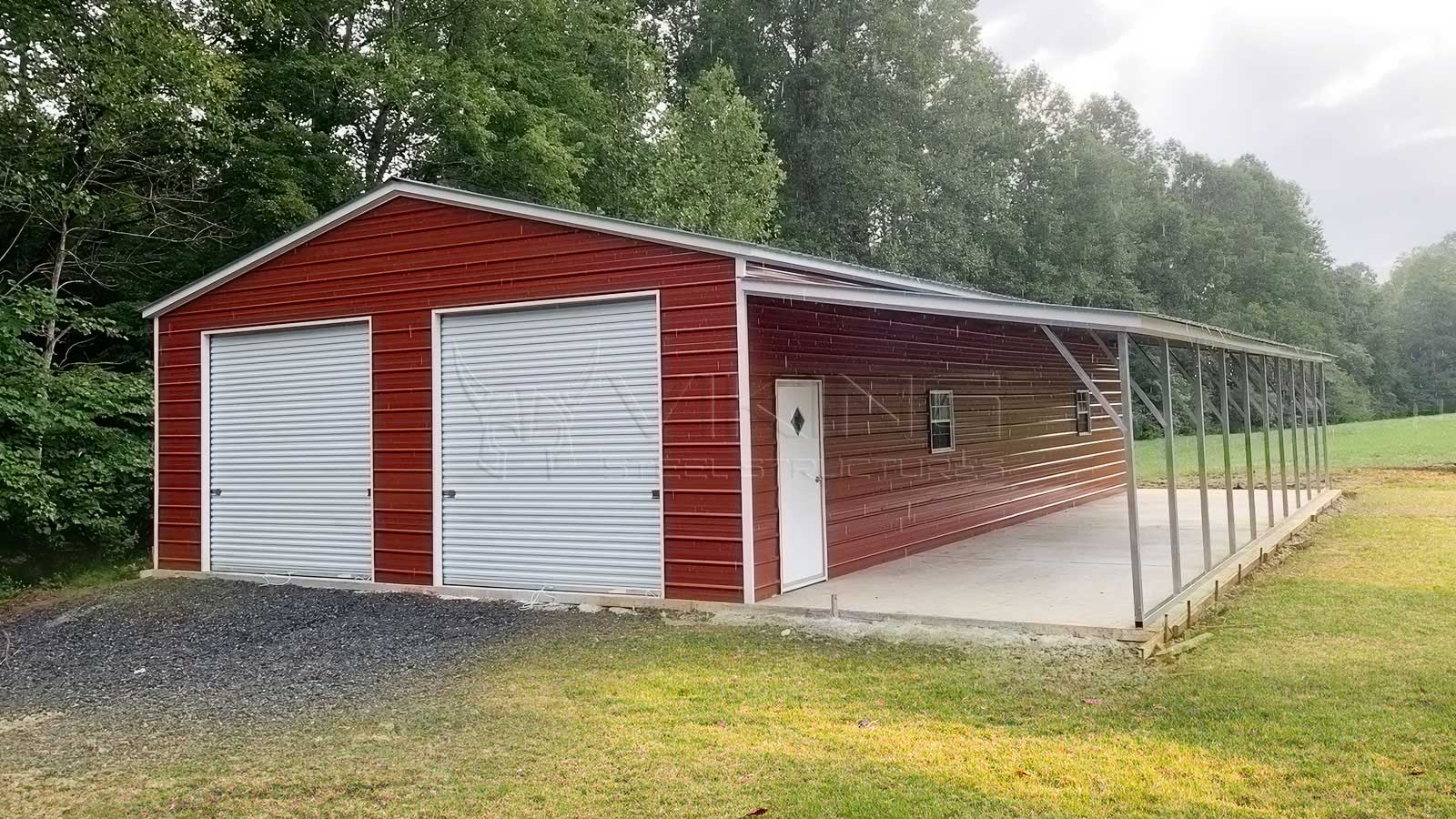 24x50x9 Fully Enclosed Metal Garage with Lean To Front View