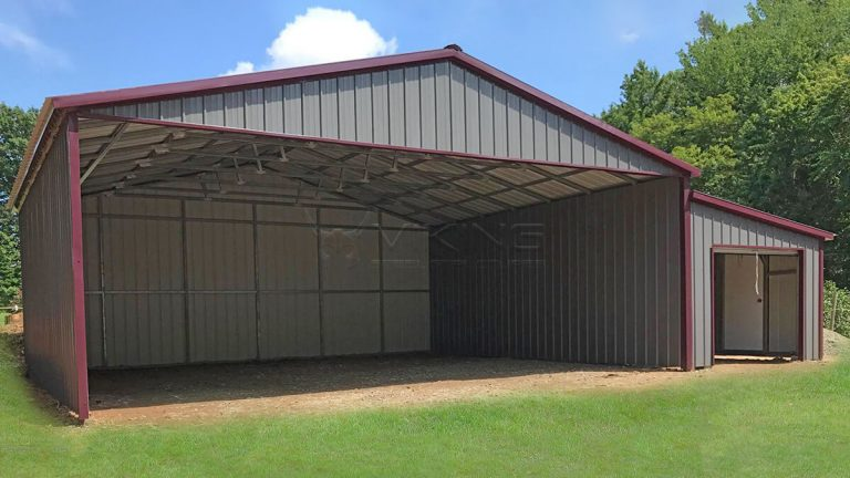 42x26x10 Vertical Metal Carport With Lean-to